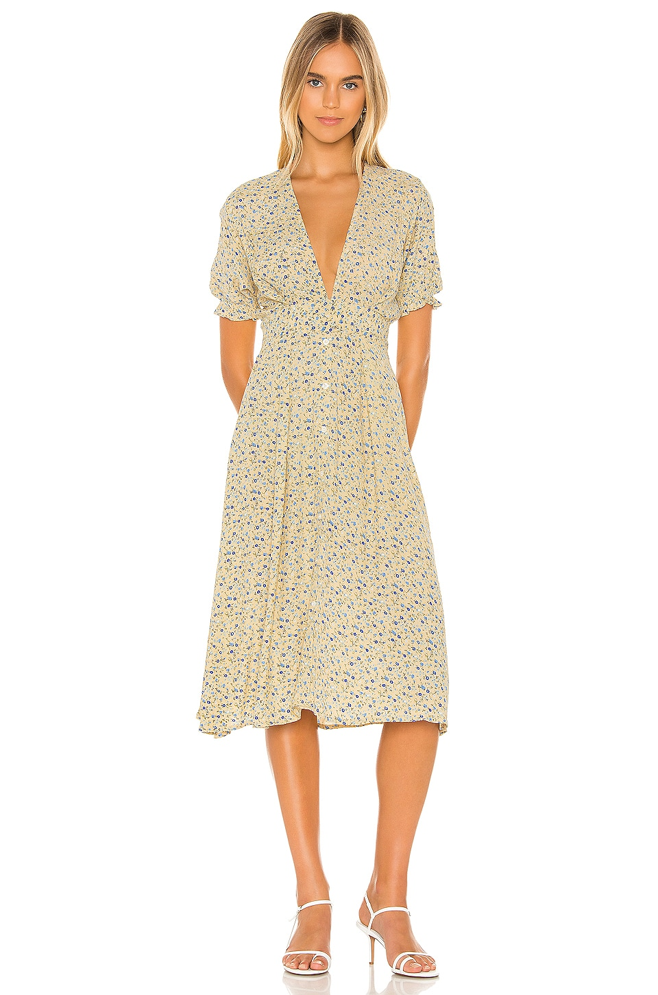 FAITHFULL THE BRAND Farah Dress in Vintage Yellow Medina Floral