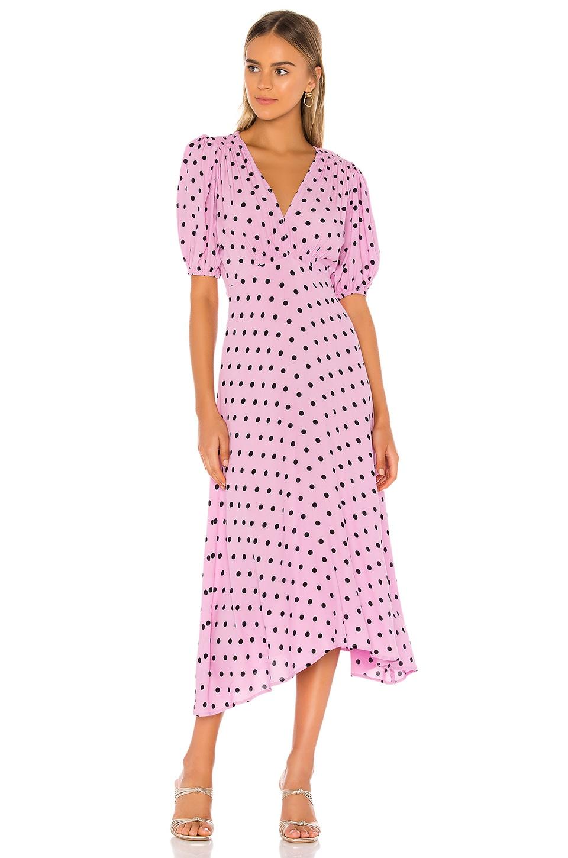 FAITHFULL THE BRAND Vittoria Midi Dress in Sylve Dot Lilac