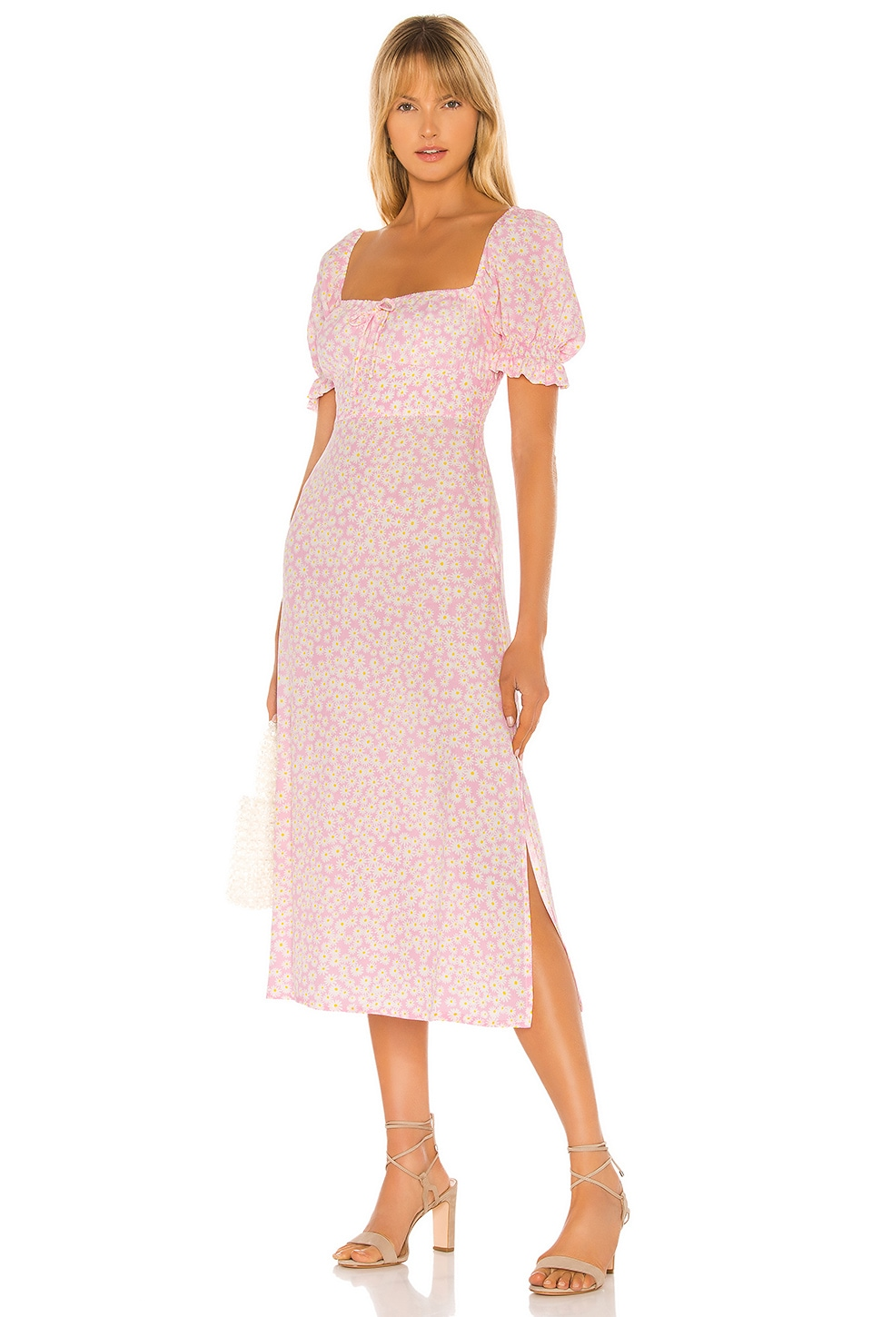 FAITHFULL THE BRAND Evelyn Midi Dress in Dusty Floral Pink