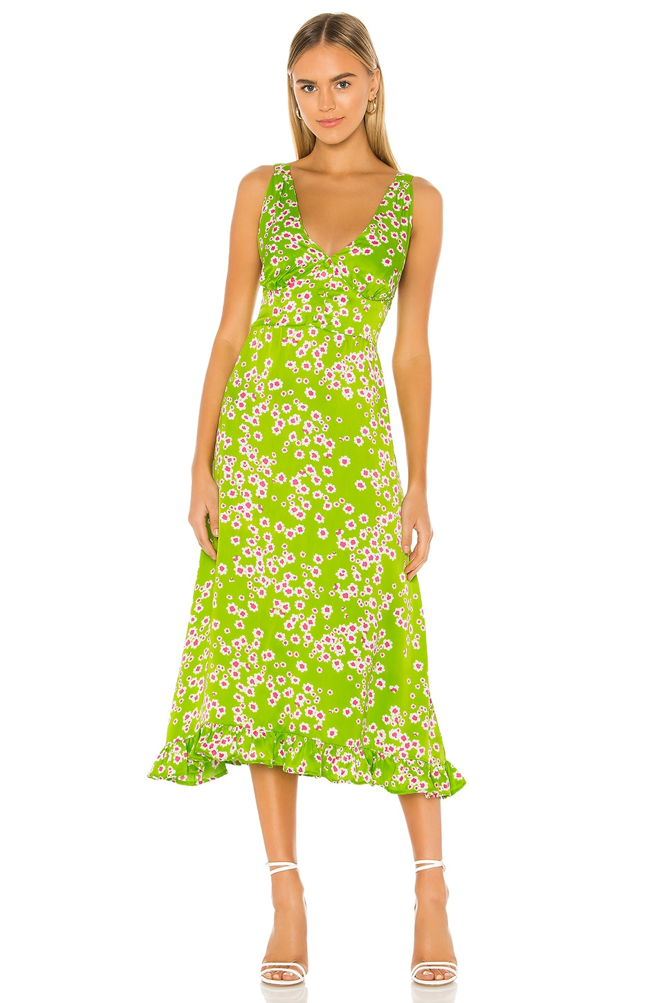 FAITHFULL THE BRAND Emili Sun Dress in Le Bon Floral & Apple Green