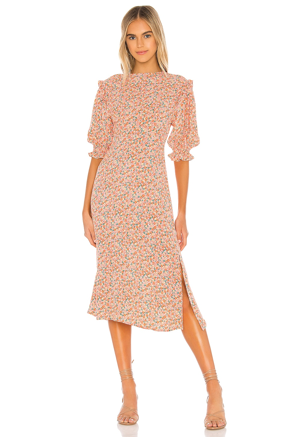 FAITHFULL THE BRAND Jean-Marie Midi Dress in Mathiola Floral
