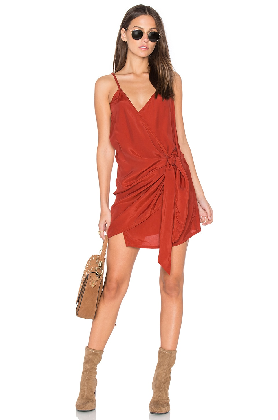 FAITHFULL THE BRAND Kara Wrap Dress in Plain Vintage Orange
