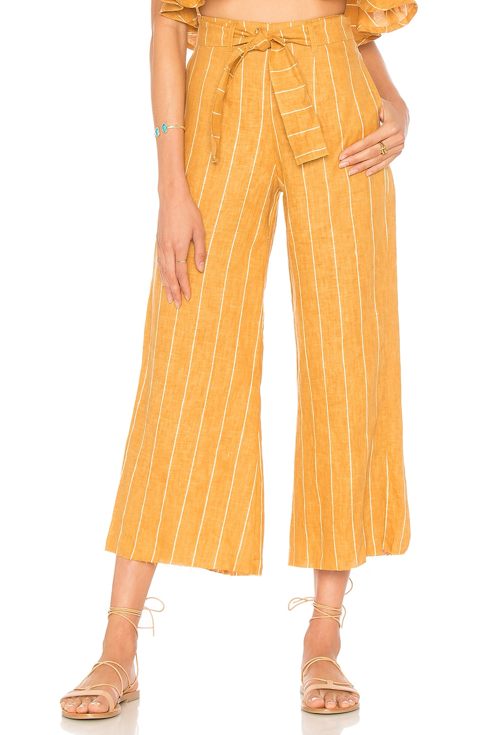 FAITHFULL THE BRAND Como Wide Leg Crop Linen Pants in Mustard