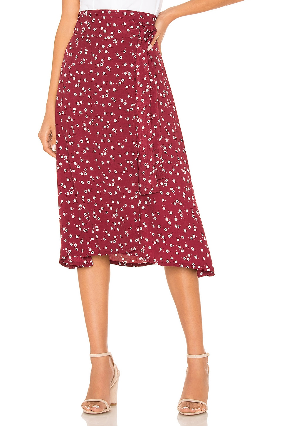 FAITHFULL THE BRAND Valencia Wrap Skirt in Berry Betina Floral