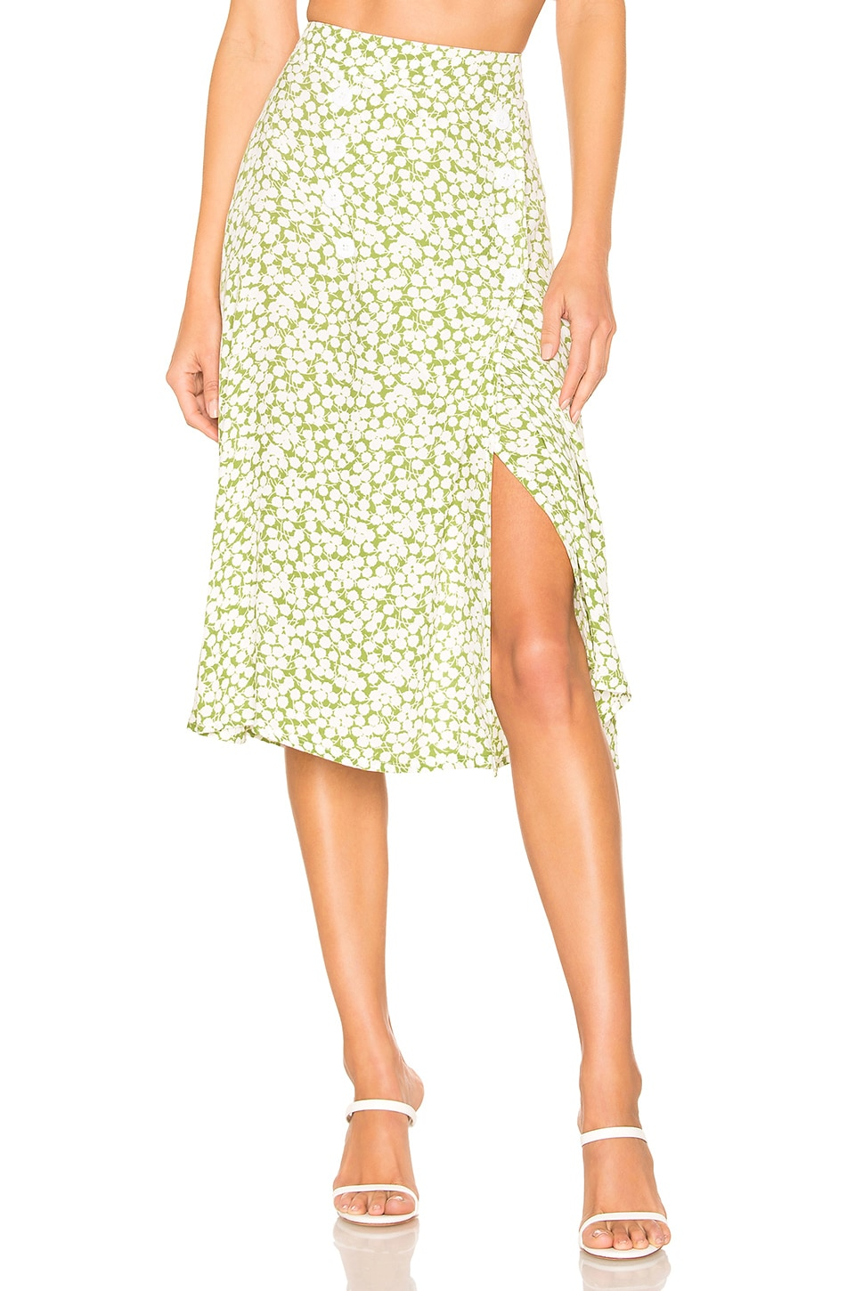 FAITHFULL THE BRAND Maya Skirt in Avocado Green Bella Floral