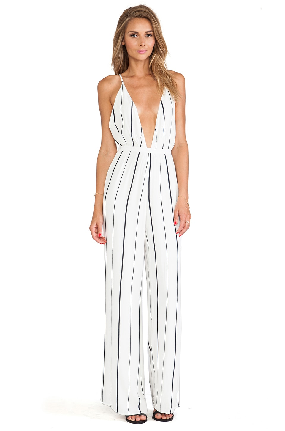 FAITHFULL THE BRAND Shutterbabe Jumpsuit in Helle Stripe Print