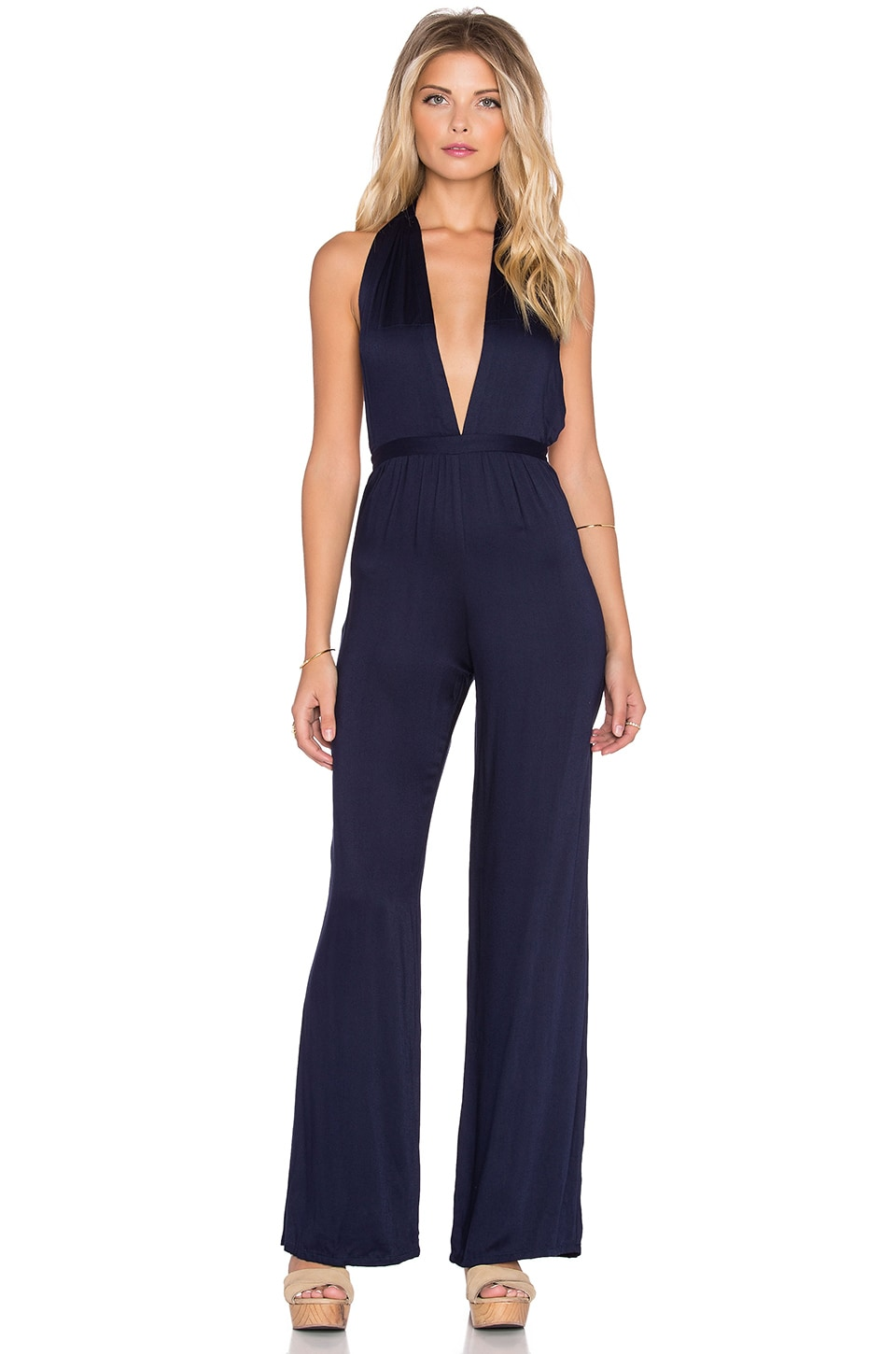 FAITHFULL THE BRAND Lola Satin Jumpsuit in Plain Midnight Navy