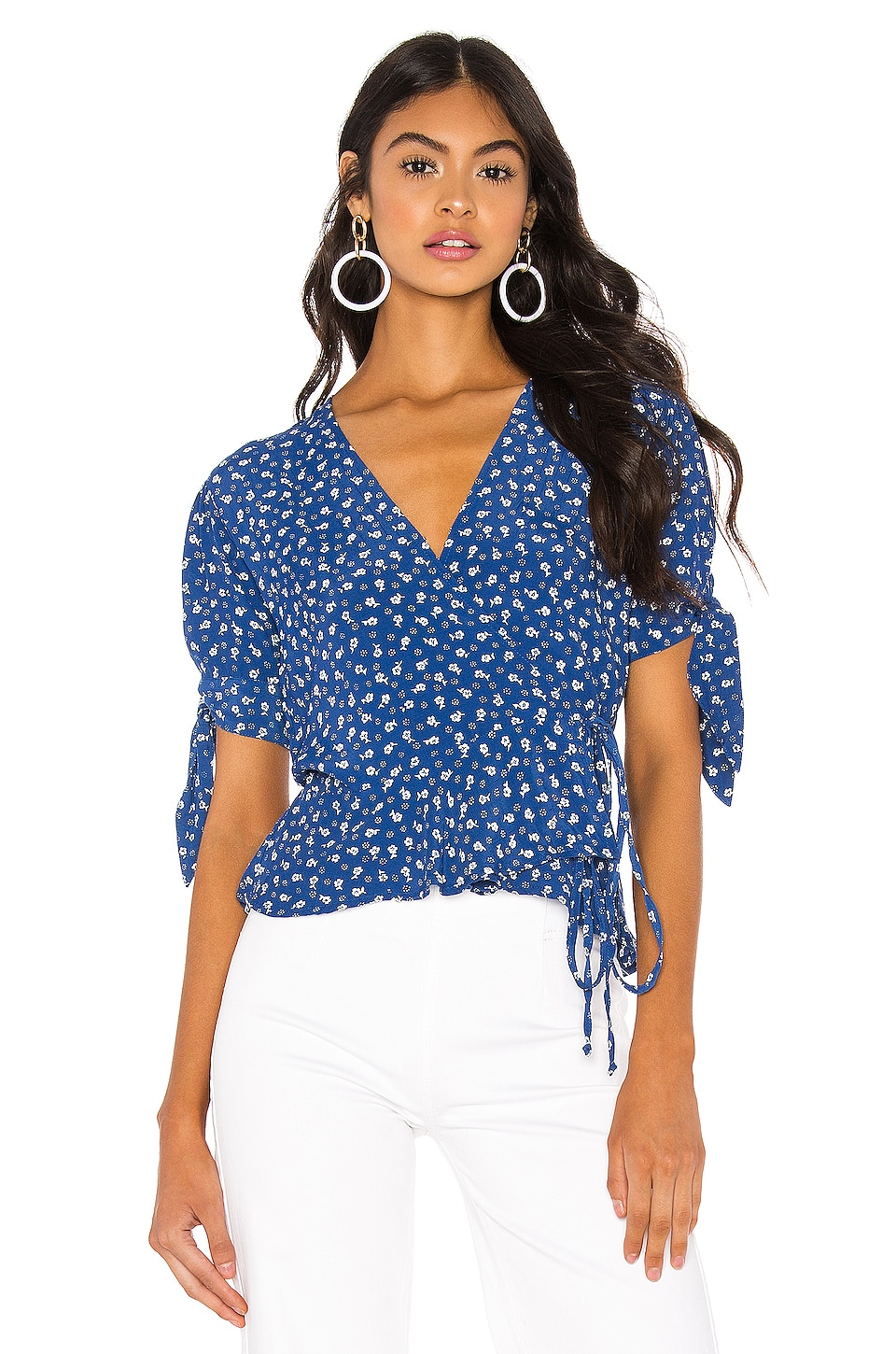 FAITHFULL THE BRAND Lucy Wrap Top in Blue Monette Floral