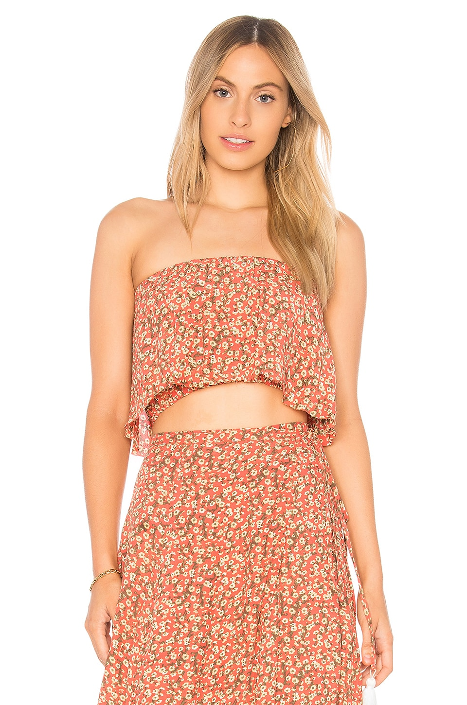 FAITHFULL THE BRAND Marlow Top in Blossom Village Print Vintage Pink