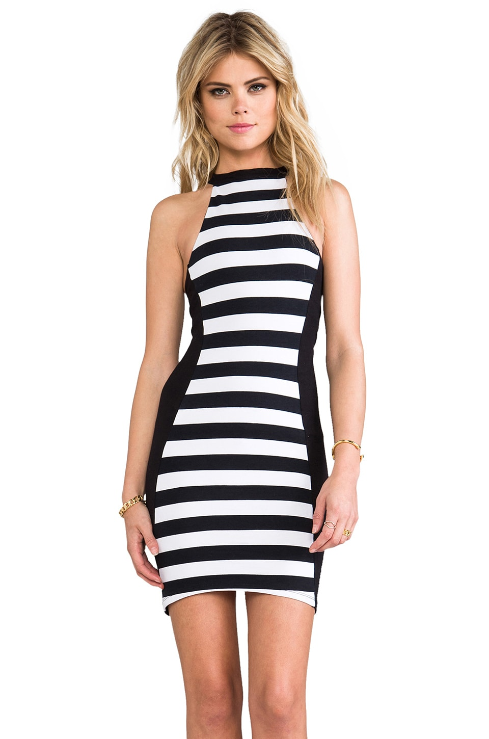 FAIRGROUND Stripe Scuba Dress in Black & White