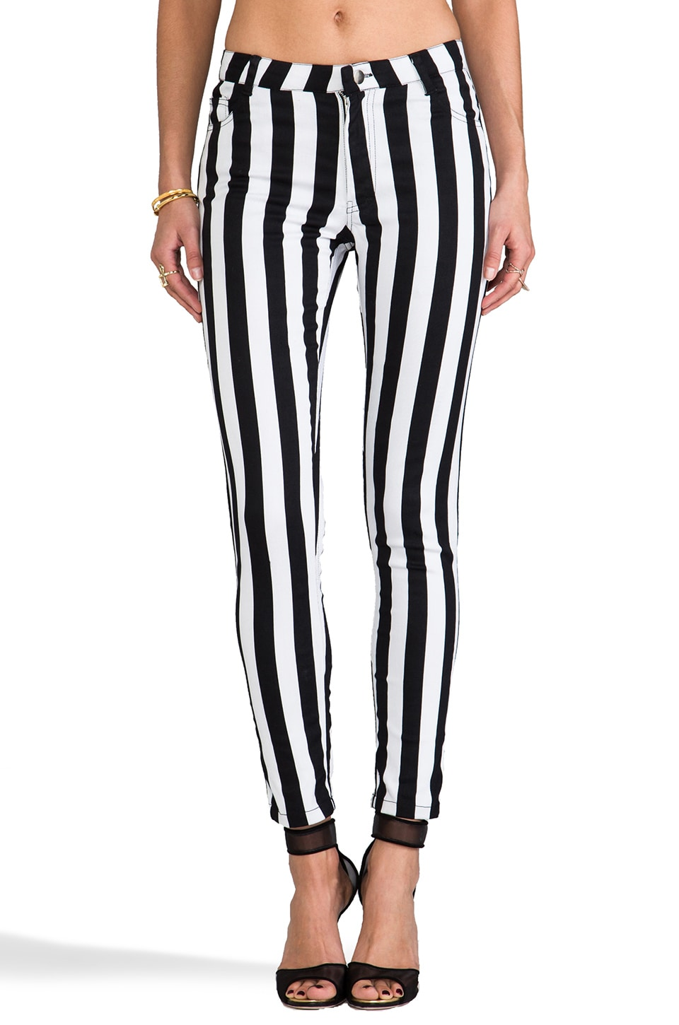 FAIRGROUND Electric Skinny Jeans in Electric Black & White Stripe