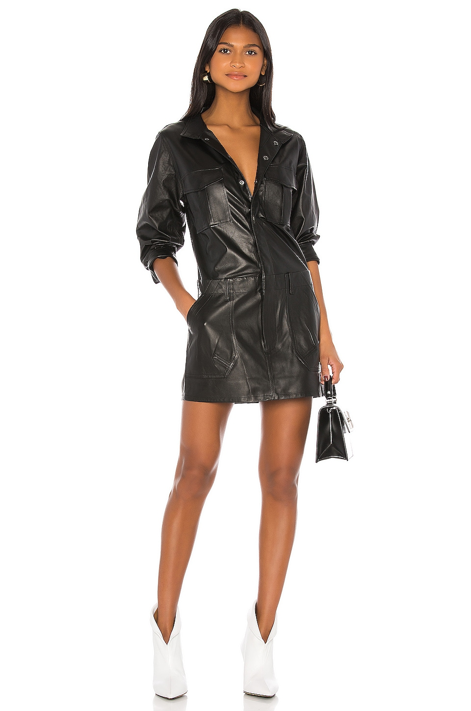 FRAME Leather Cargo Dress in Noir