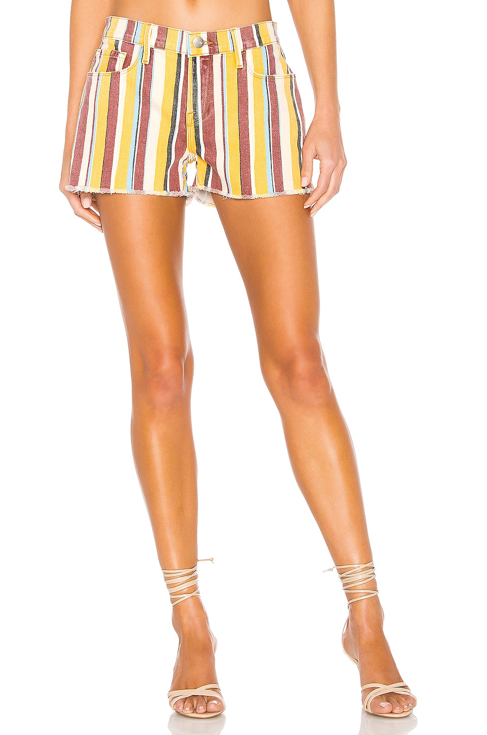 FRAME Le Cut Off Short in Painterly Stripe