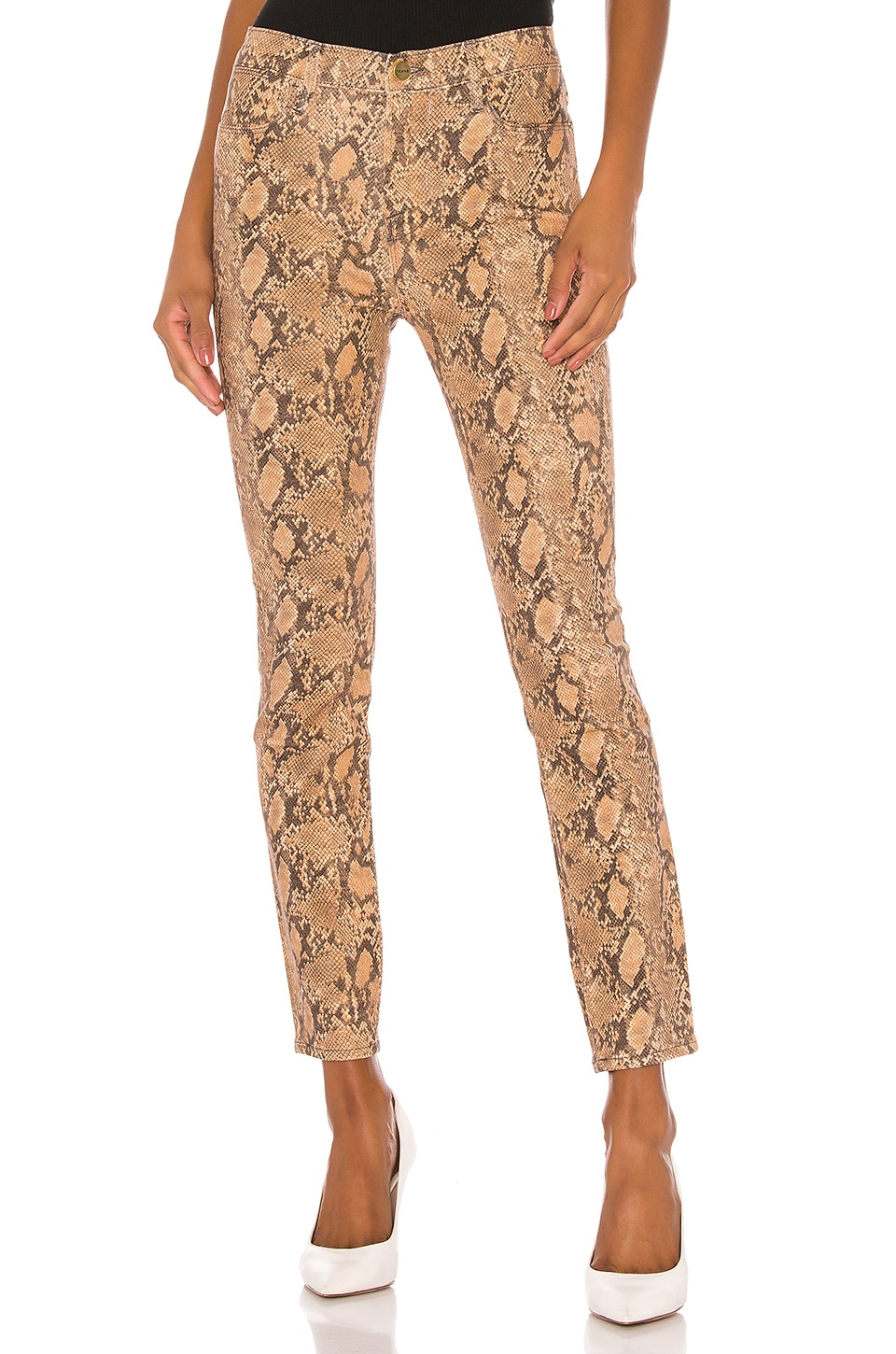 FRAME Le High Skinny in Coated Python