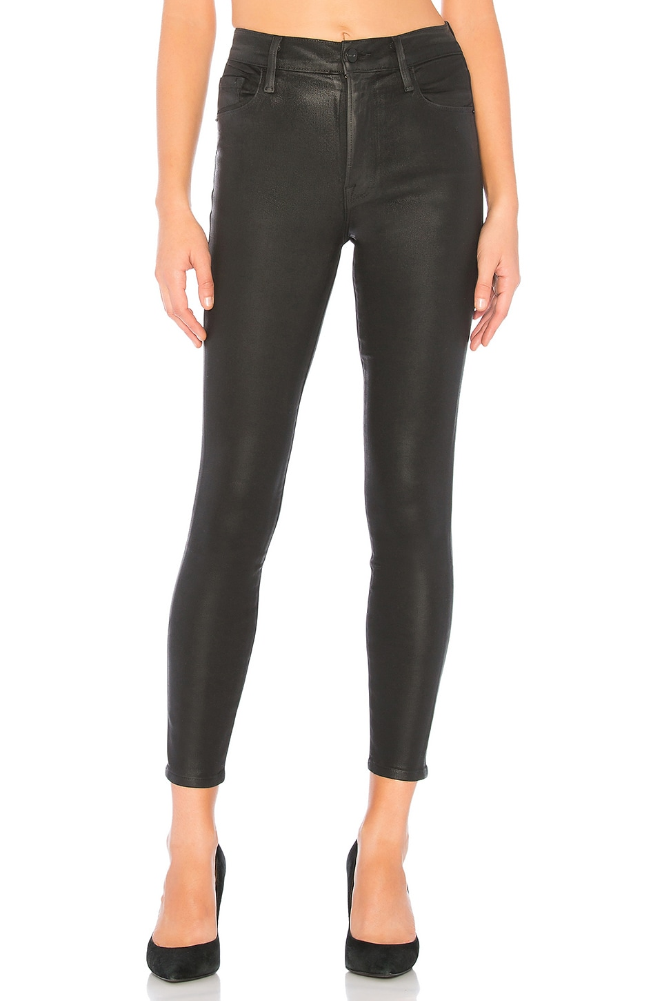 FRAME Ali High Rise Skinny in Noir Coated