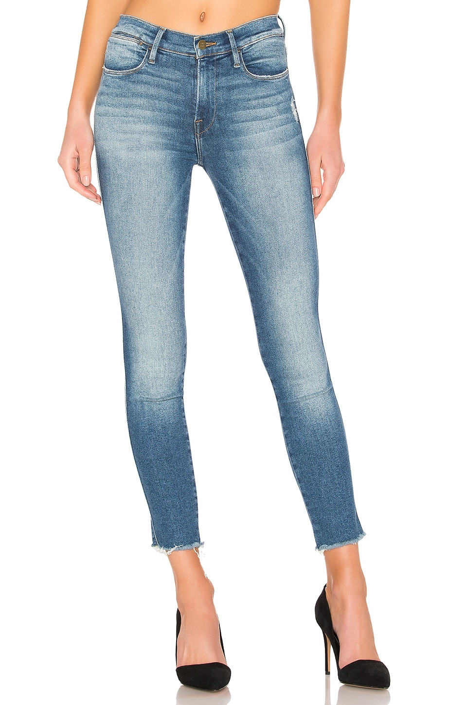 FRAME Le High Skinny Double Needle in McGrath