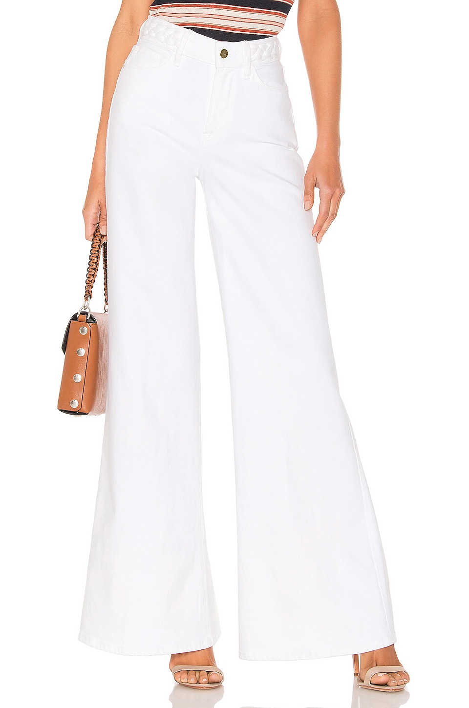 FRAME Le Palazzo Braided Wide Leg in Blanc