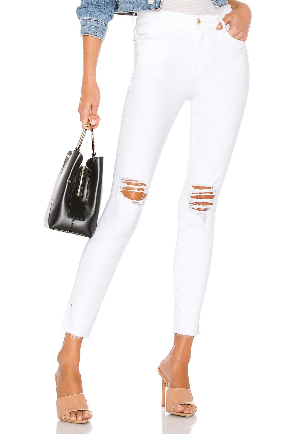FRAME Le High Skinny Crop in Blanc Transit
