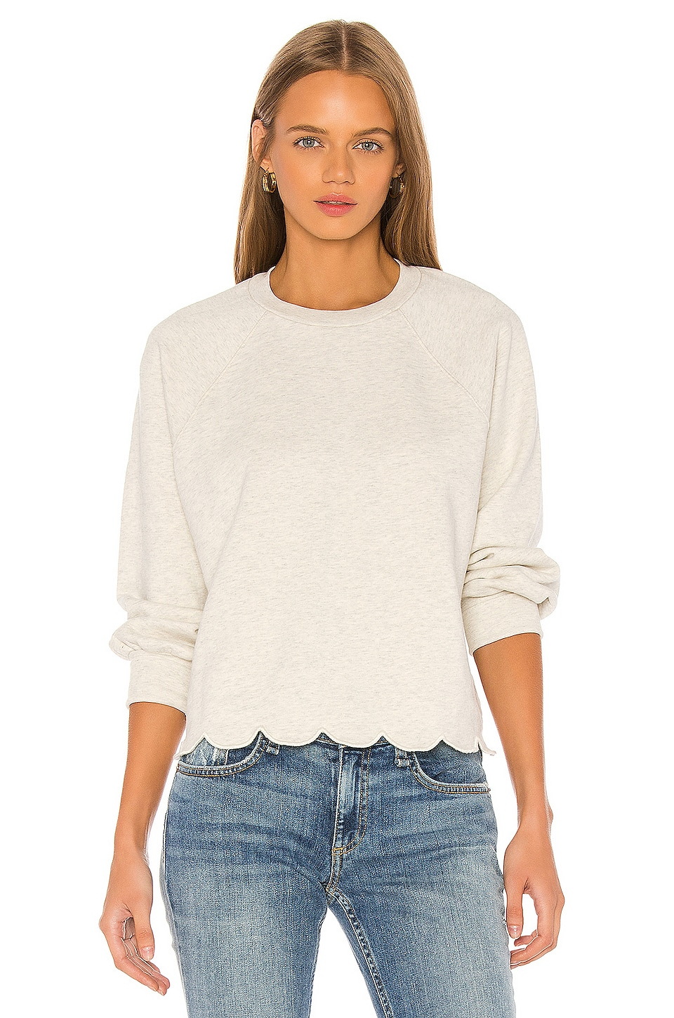 FRAME Scallop Crew Sweatshirt in Oatmeal Heather