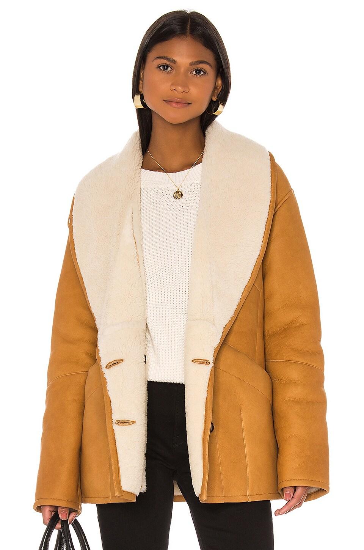 FRAME Cocoon Shearling Coat in Golden Beige