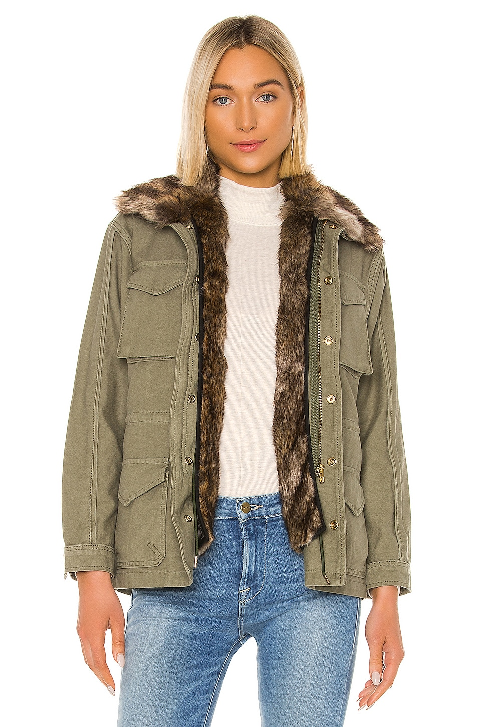 FRAME Faux Fur Lined Service Jacket in Military