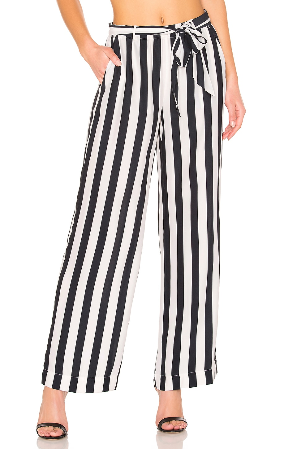 FRAME Striped Wide-Leg Easy Pull-On Pants in Black