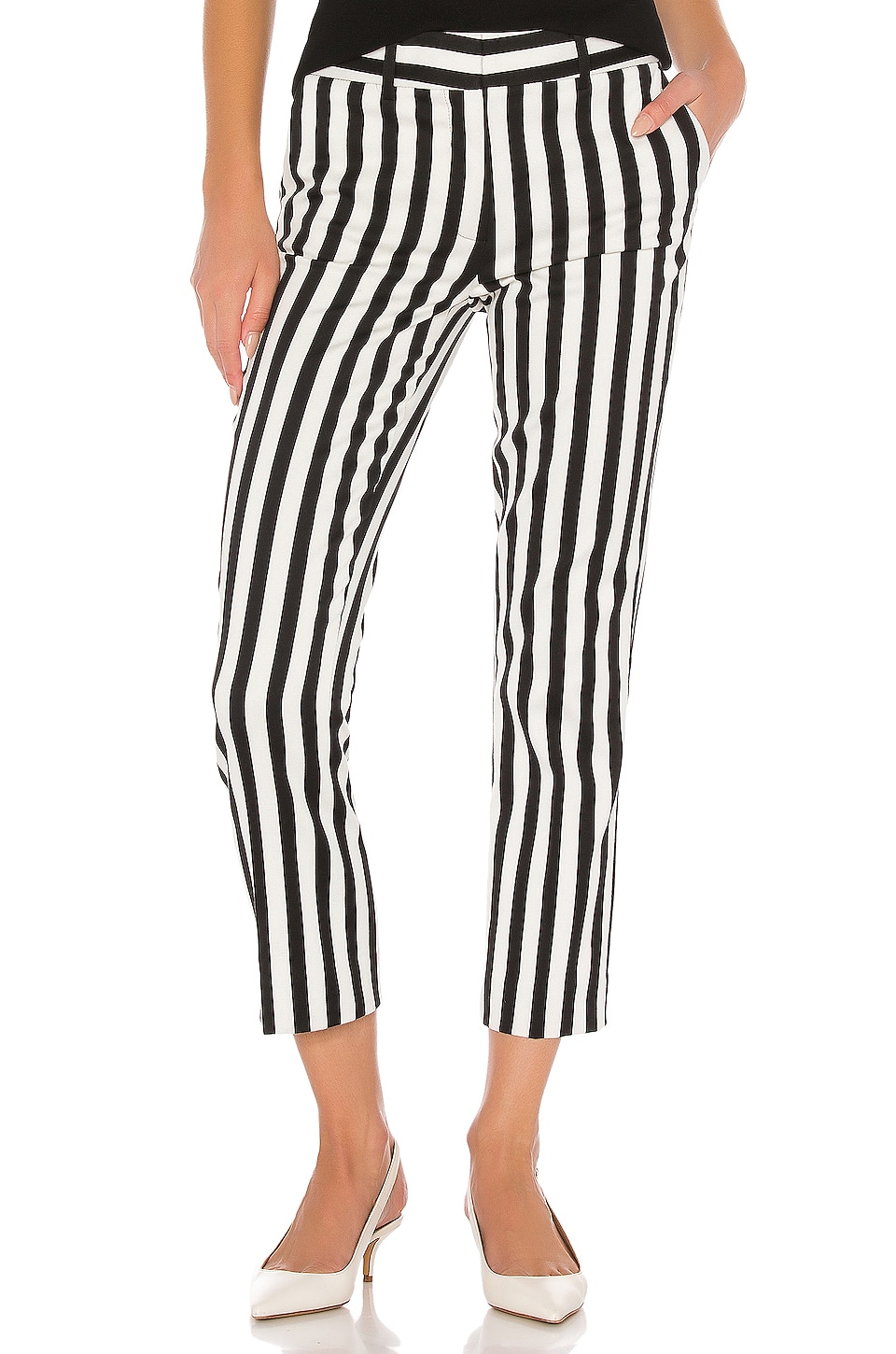 FRAME Cropped Perfect Trouser in Noir Multi