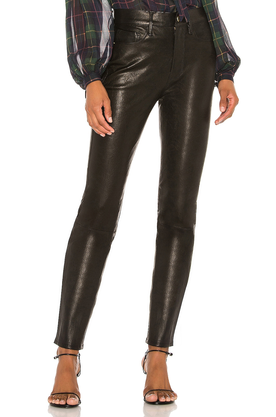 FRAME Le Sylvie Leather Pant in Noir