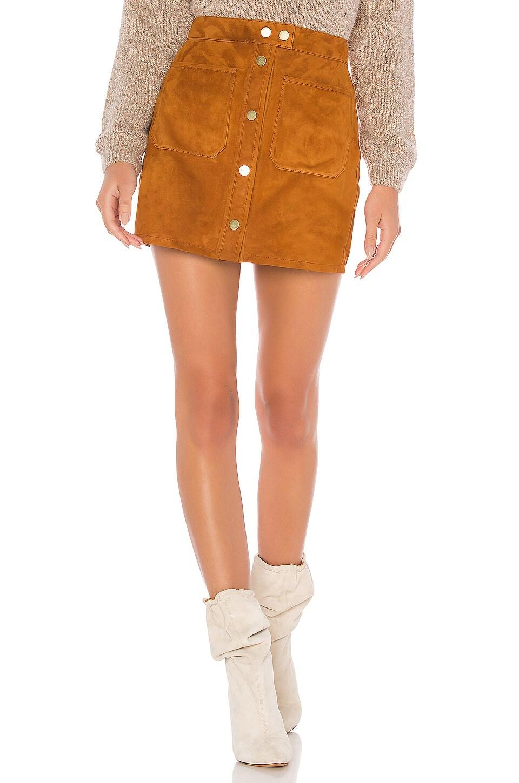 FRAME Patch Pocket Suede Skirt in Copper