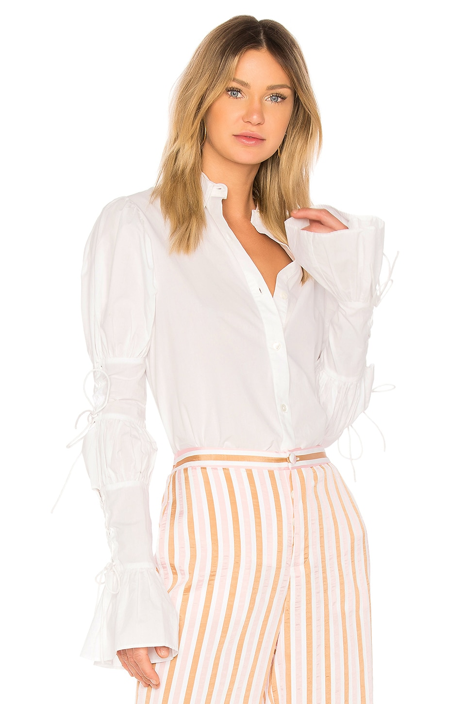 Victorian Striped Puff-Sleeve Button-Front Blouse, White