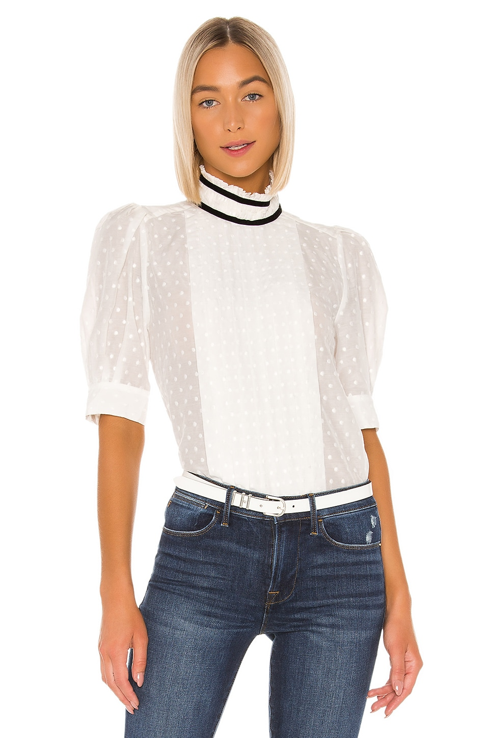 FRAME Contrast Trim Top in Off White