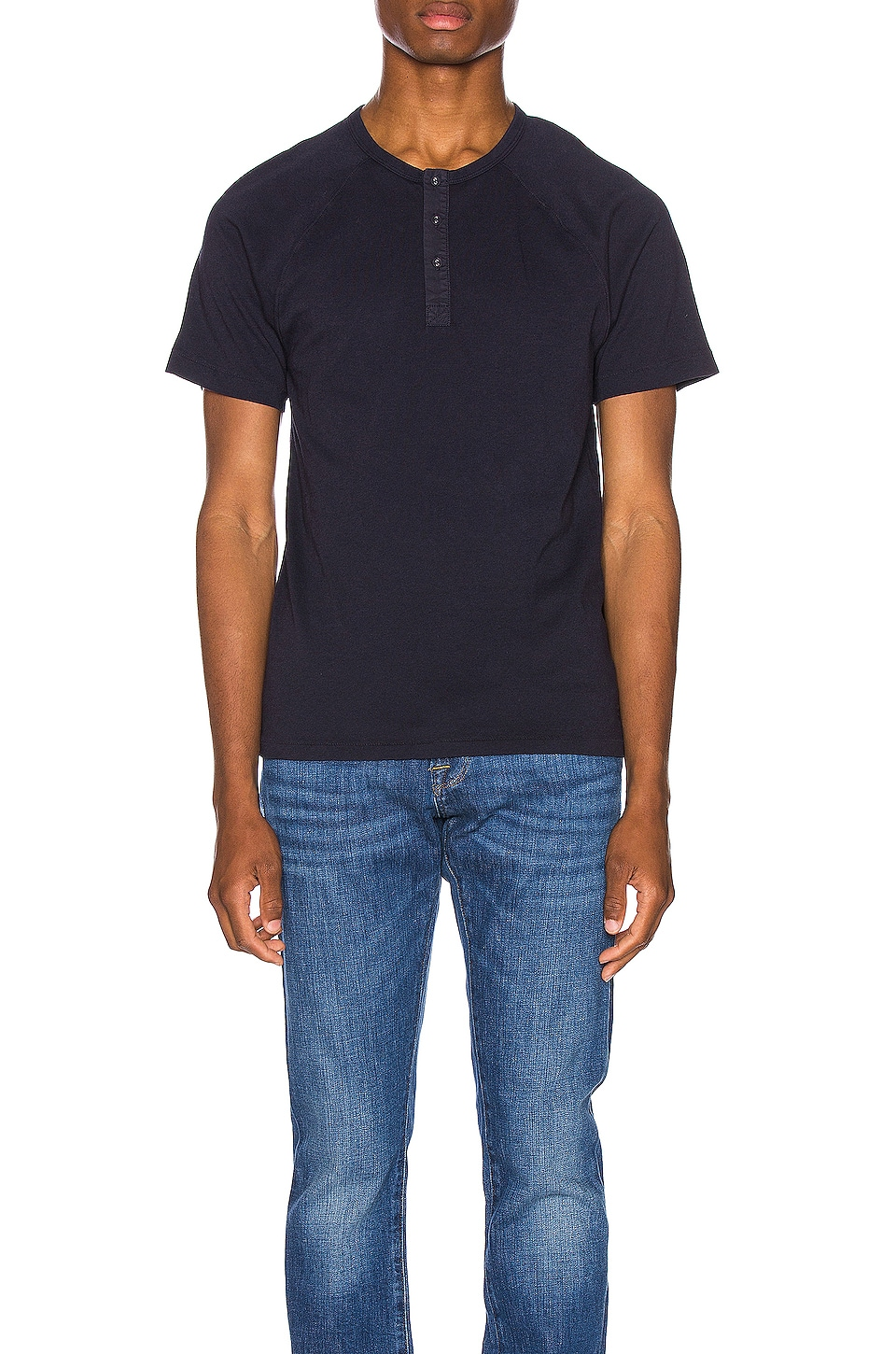 FRAME Short Sleeve Henley in Navy