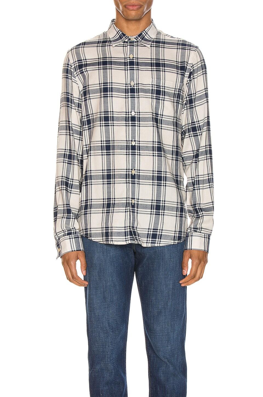 FRAME Long Sleeve Single Pocket Shirt en Tile Blue Multi