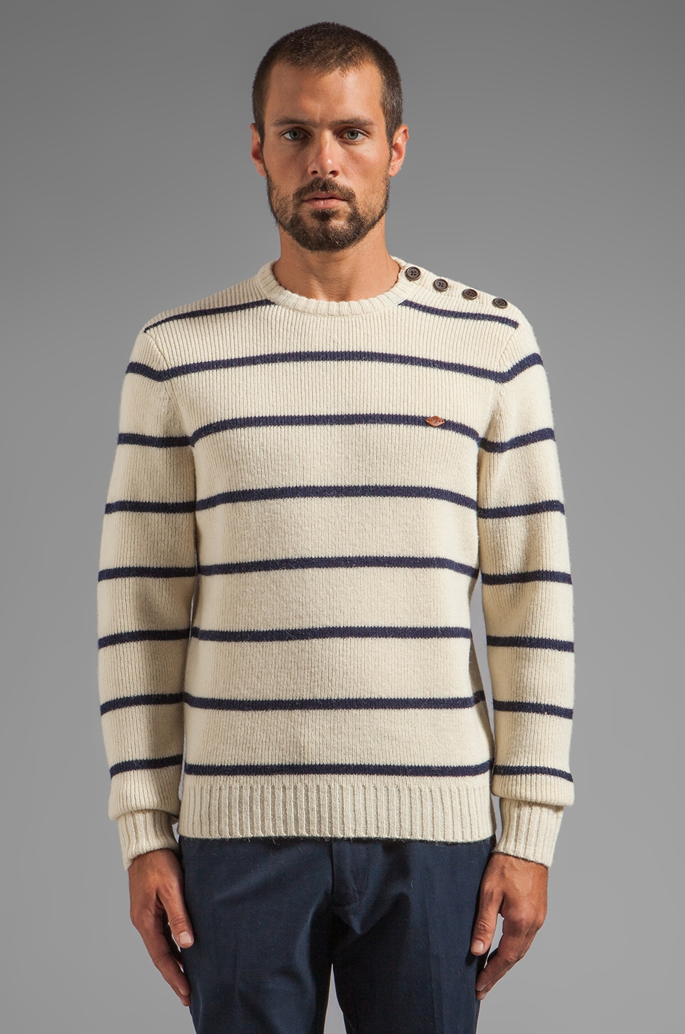 FARAH VINTAGE 1920 Ewart Striped Pullover in Ecru