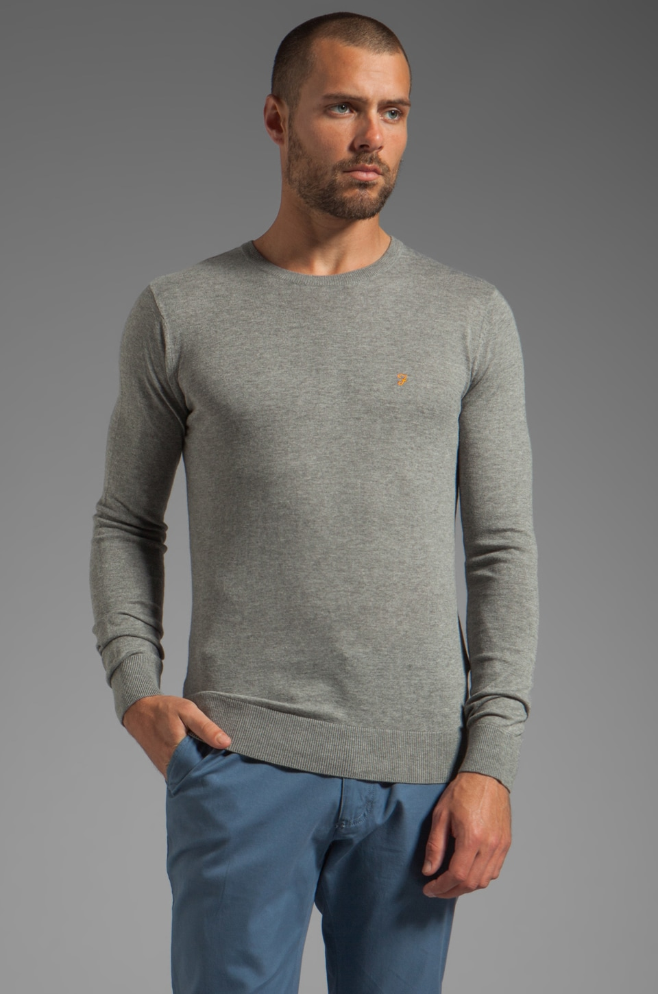 FARAH VINTAGE Fontaine Crew Neck Knit in Grey Marl