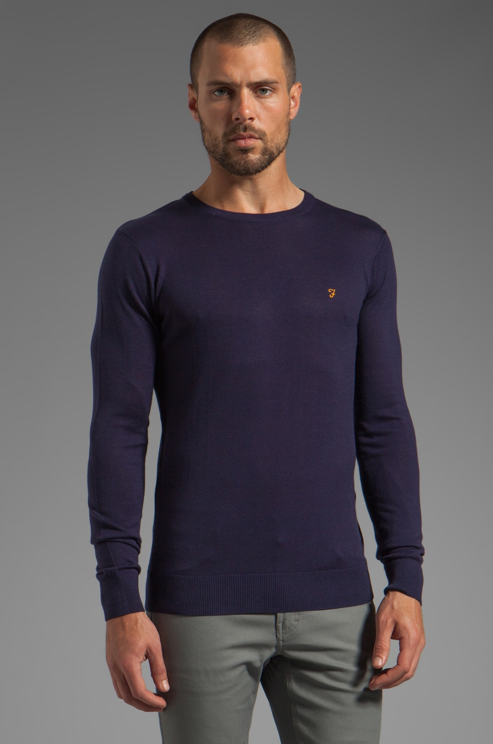 FARAH VINTAGE Fontaine Crew Neck Knit in Dark Indigo