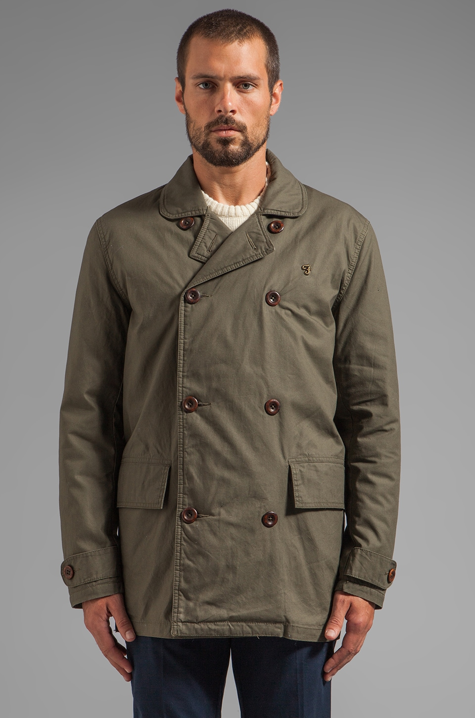FARAH VINTAGE 1920 Crampton Deck Coat in Dark Olive