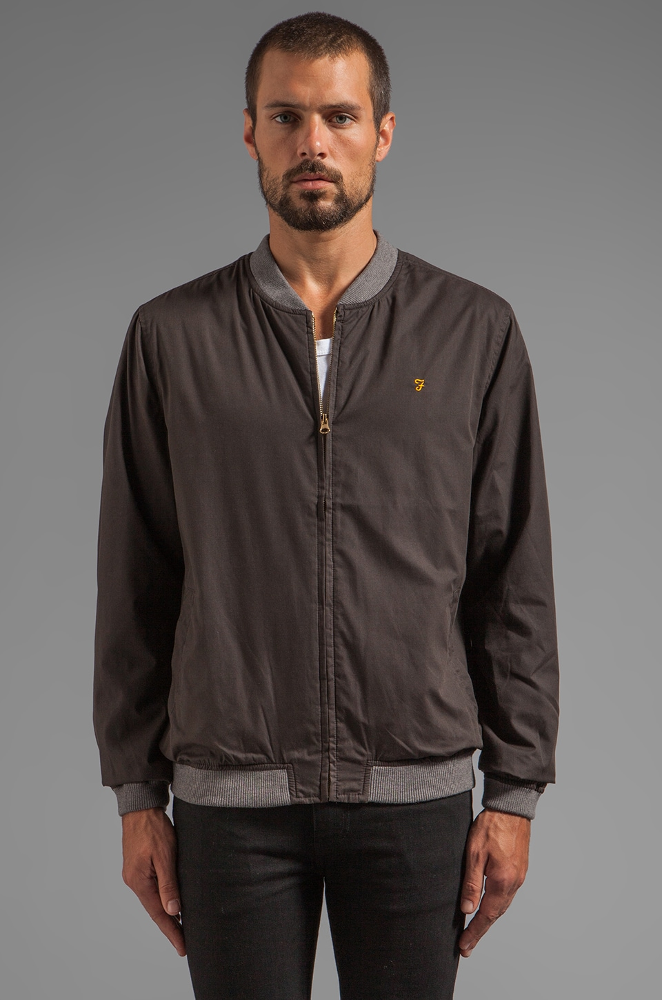 FARAH VINTAGE The Wheeler Waxed Bomber in Black Olive