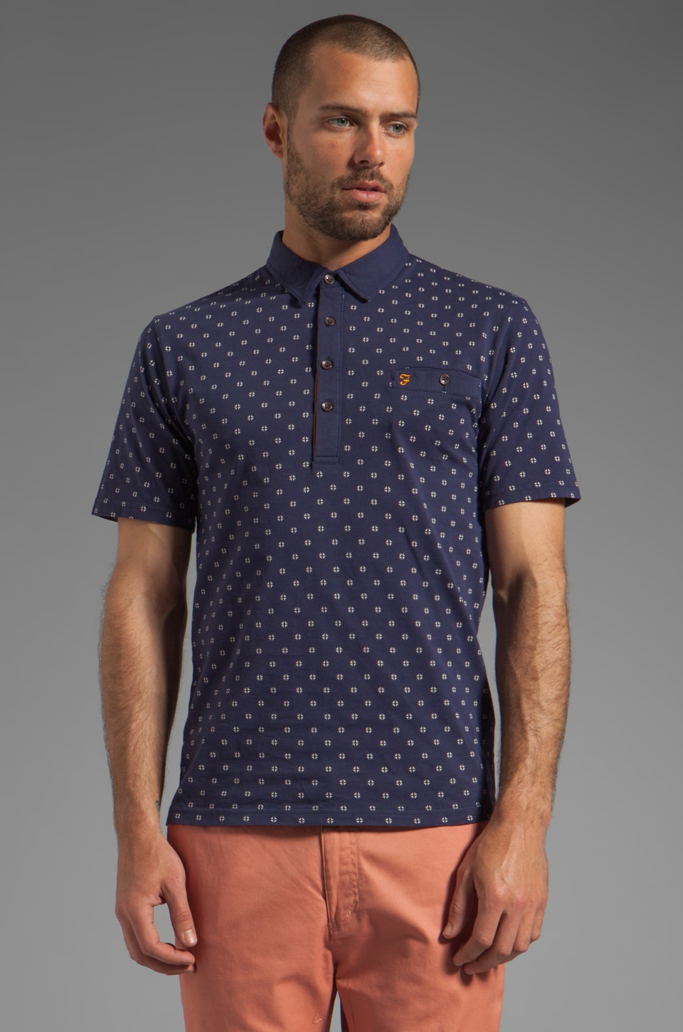 FARAH VINTAGE The George Welt Pocket Polo in Dark Indigo