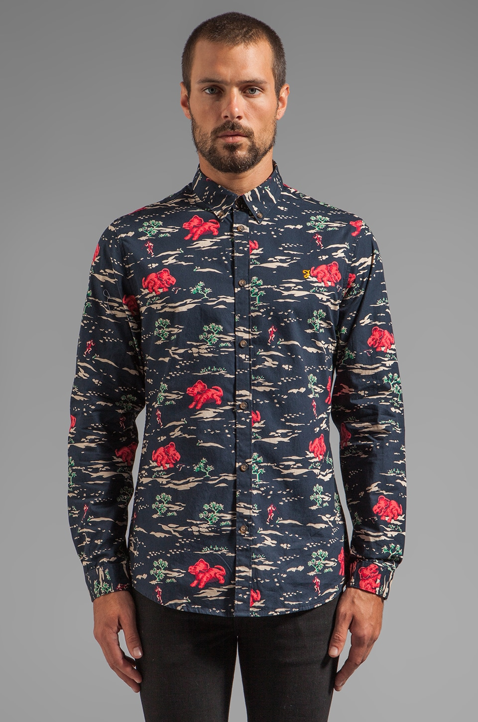 FARAH VINTAGE The Huxley Button Down in Navy