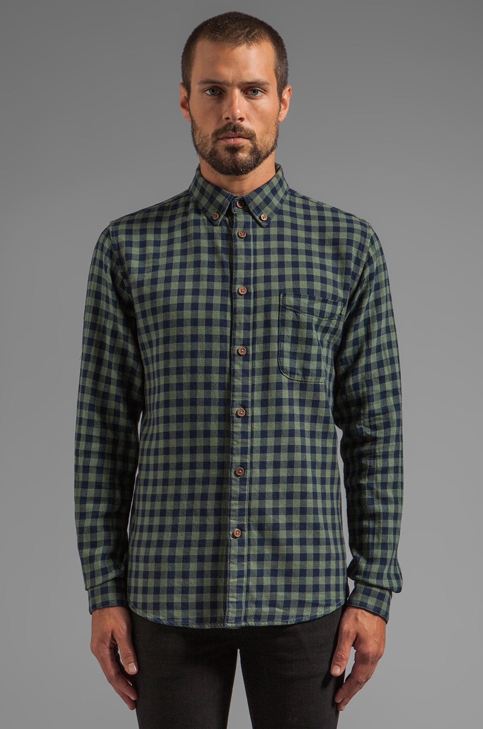 FARAH VINTAGE The 1920 Hatton Button Down in Woodland Green