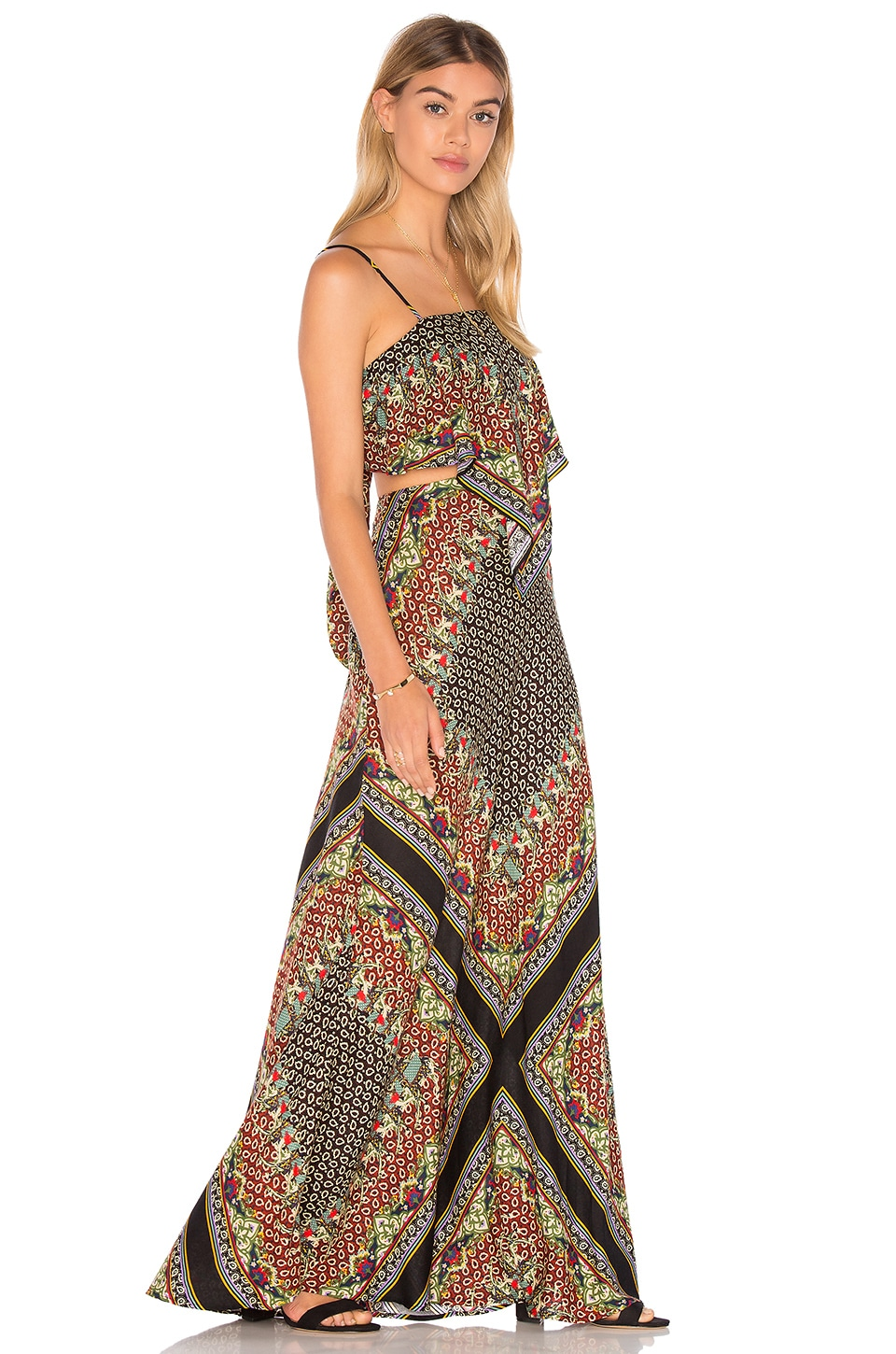 FARM Cutout Maxi Dress in Black Camel