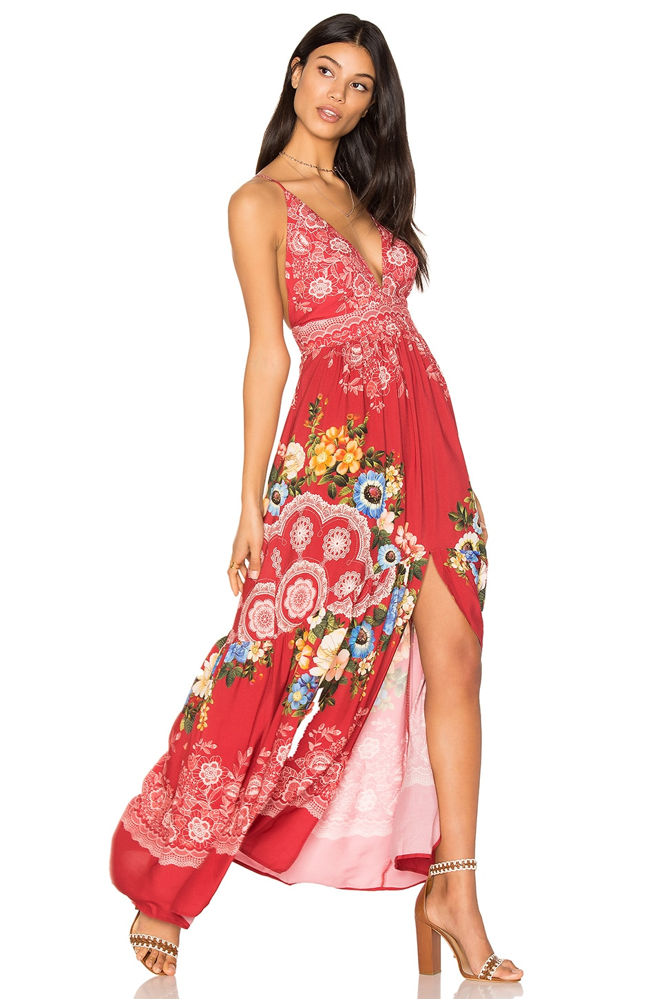 FARM Deep V Maxi Dress in Giza Mandalas Red