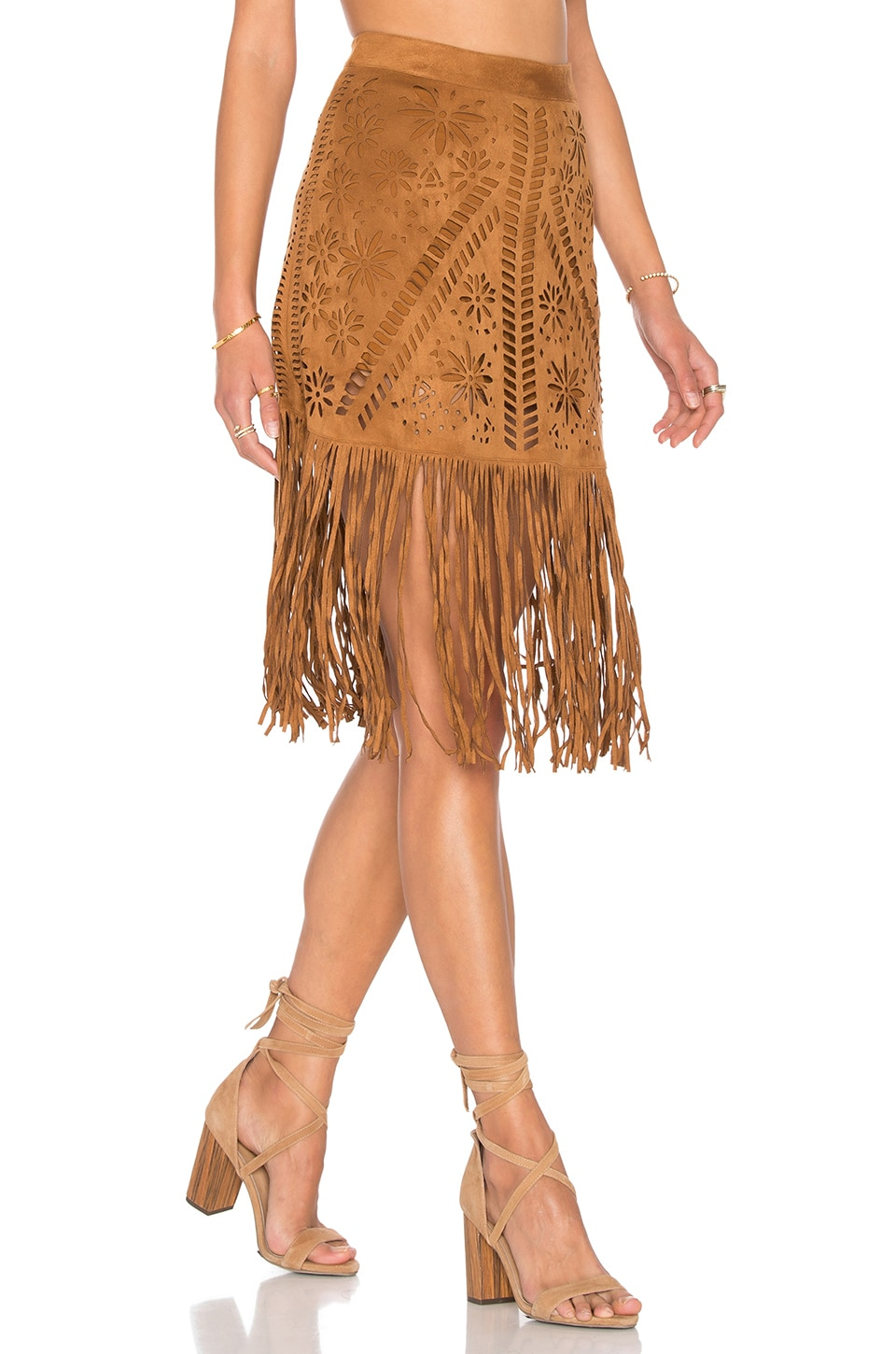 FARM Fringe Laser Cut Skirt in Suede