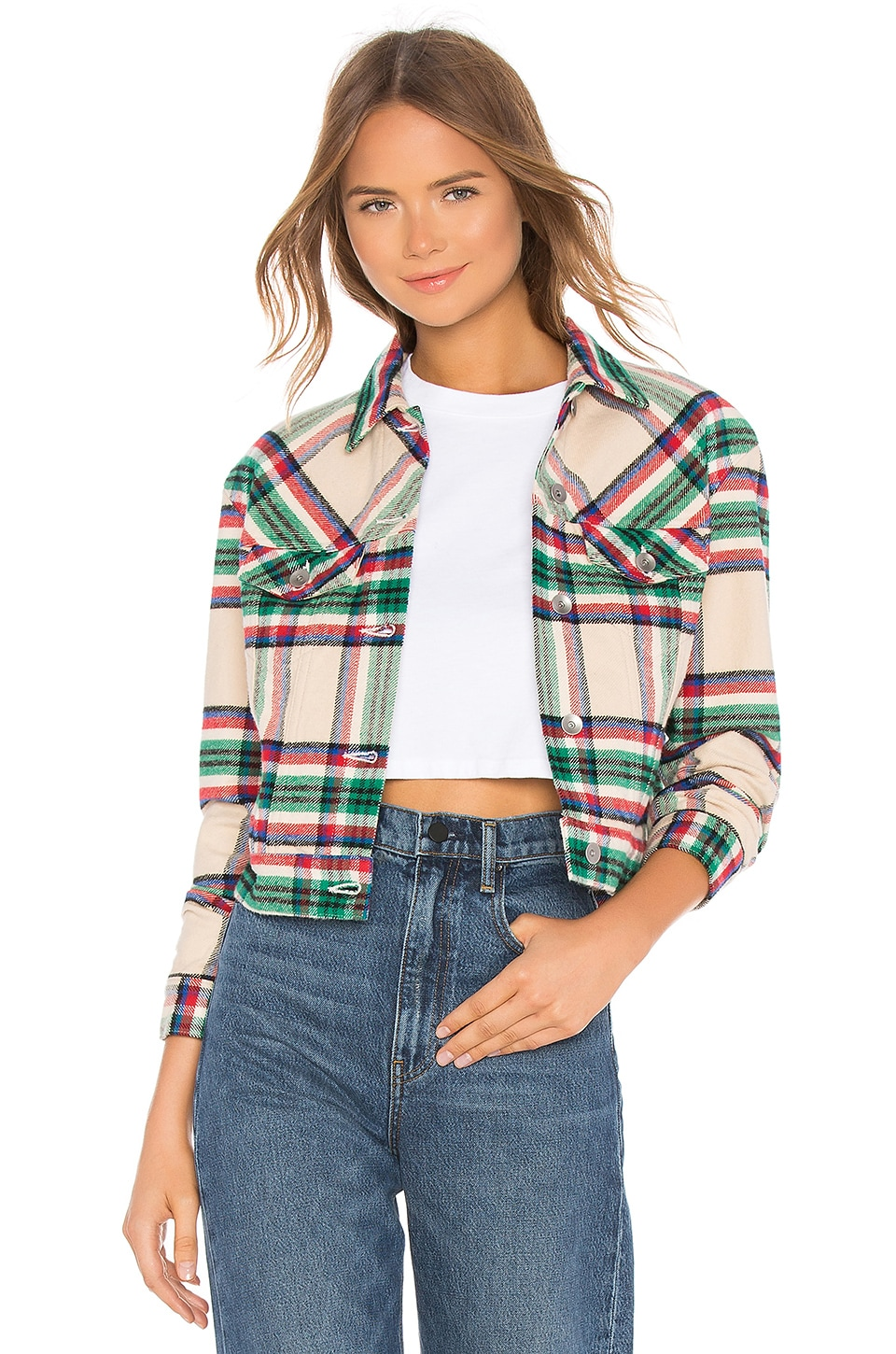 FATHER'S DAUGHTER Kathleen Box Crop Jacket in Tan