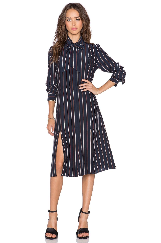 FRAME Denim Le Shirt Tie Dress in Navy Vintage Stripe