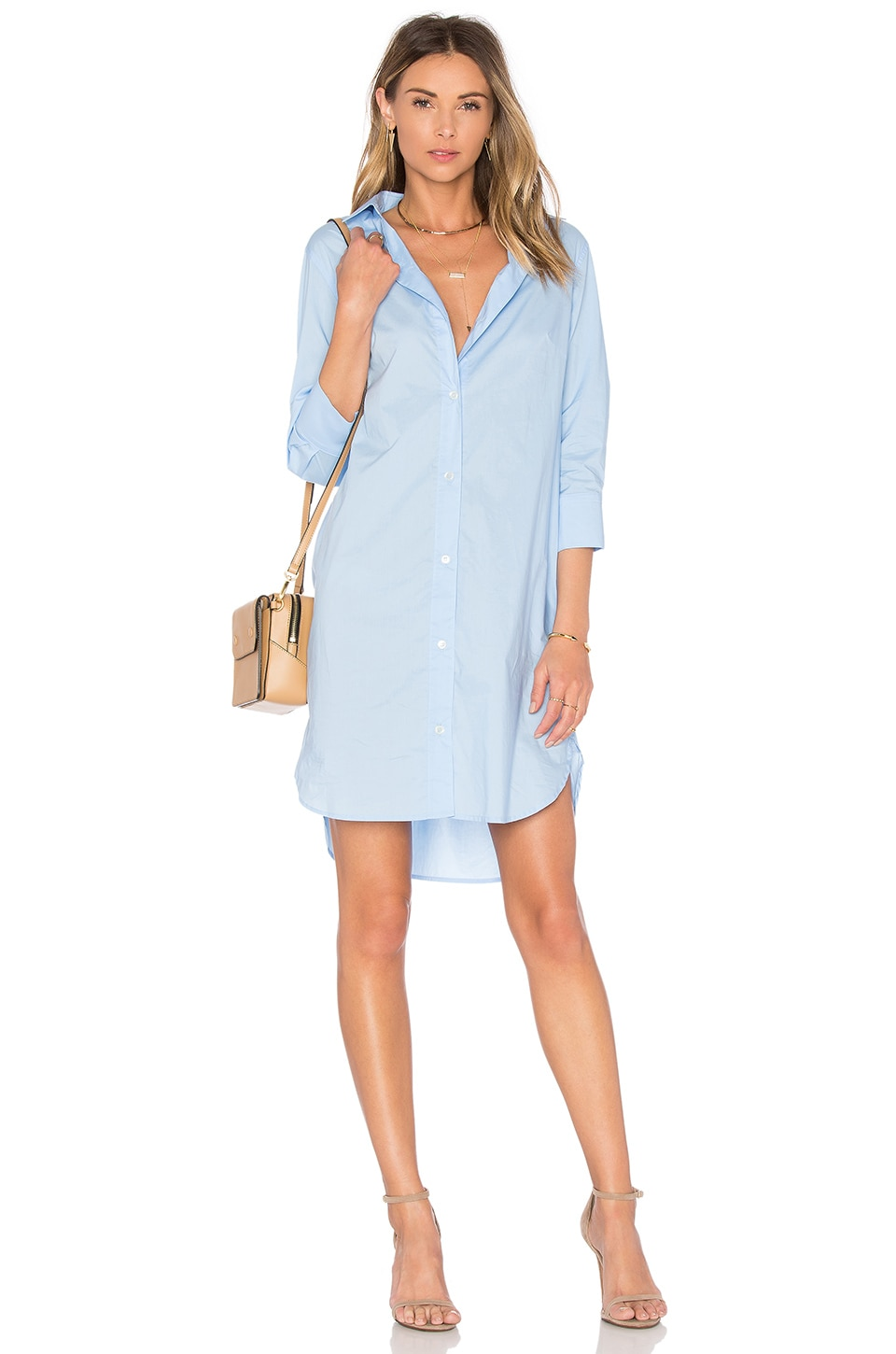 FRAME Denim Le Poplin Shirt Dress in Placid Blue
