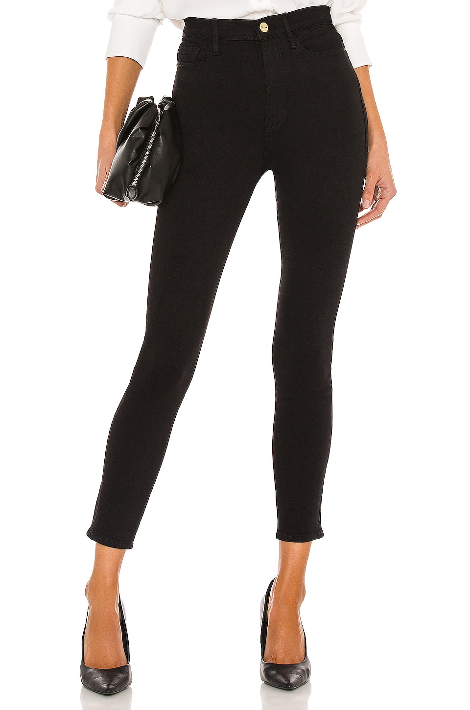FRAME Denim Ali High Rise Skinny Cigarette in Noir