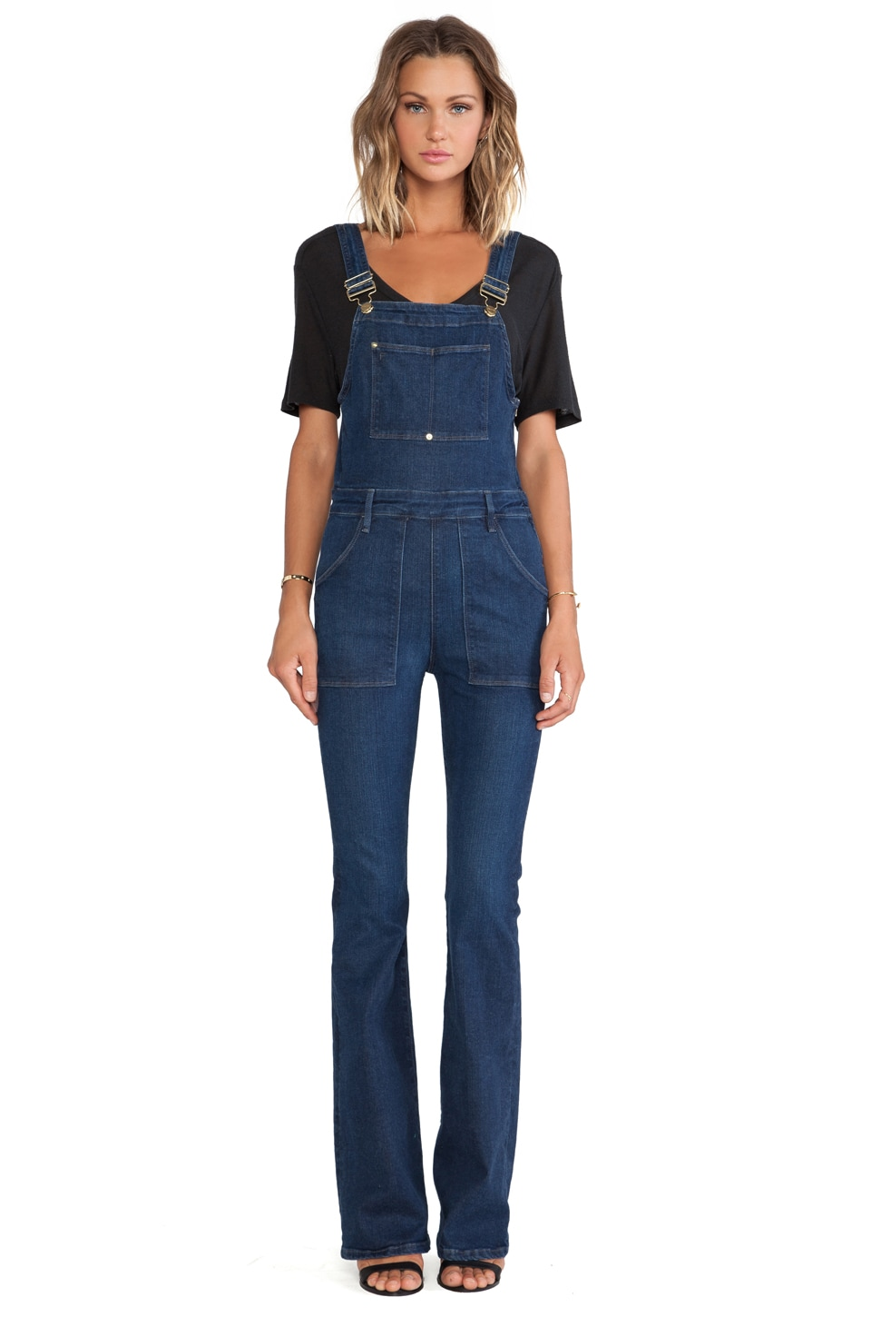 FRAME Denim Le High Flare Overall in Eton Avenue