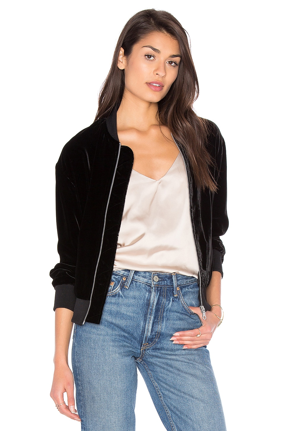FRAME Denim Le Velvet Bomber Jacket in Noir